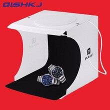PULUZ 20*20 cm 8 Mini Folding Estúdio Lightbox Com DIODO EMISSOR de Luz Difusa Suave Caixa Preto e Branco Fotografia Fundo caixa de Estúdio de Fotografia