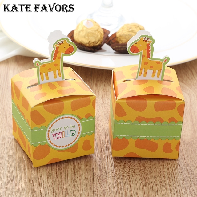 Lovely Cute Giraffe Baby Shower Candy Box Chocolate Box Paper Candy Box  Clown Party Favors And