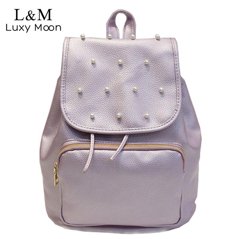 LUXY MOON Women Fresh Backpack Pu Leather School Bag Artificial pearls Bags Teenage Girls 2017 Rucksack