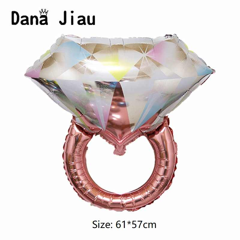 חדש גדול זהב יהלומי טבעת אלומיניום רדיד בלוני הצעת נישואים האהבה מתנת יום אהבה אתה אדום לב כדור המפלגה קישוטים