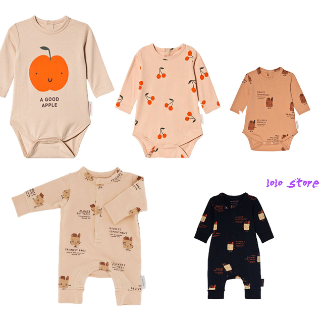 b31e3e090cd Kids Jumpsuit 2018 Autumn And Winter Tiny Cottons Fashion Boys Cotton  Cherry Romper Long Sleeve Apple