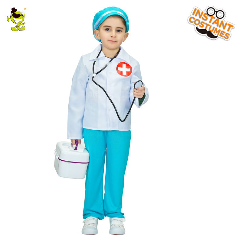 Kid Boy Doctor Costumes Cosplay Fancy Dress Kids Professional Mediciner Dress-up Clothing for Career Role Play Party