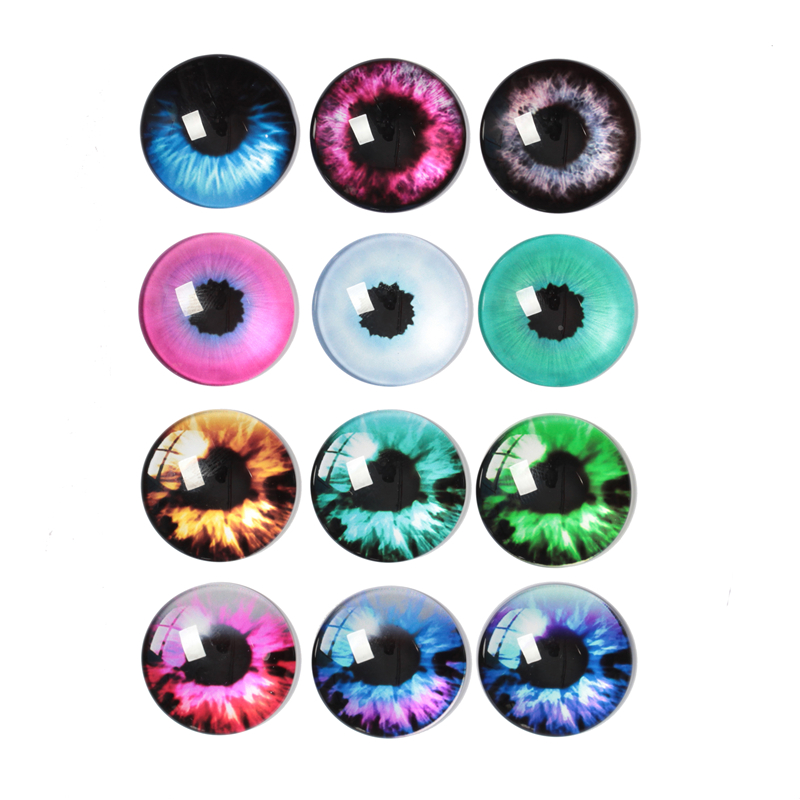 10-30pcs 10mm-30mm Round Handmade Dragon Cat Eyes Picture Photo Glass Cabochons Base Setting Jewelry Charms Accessory No.1005(China)