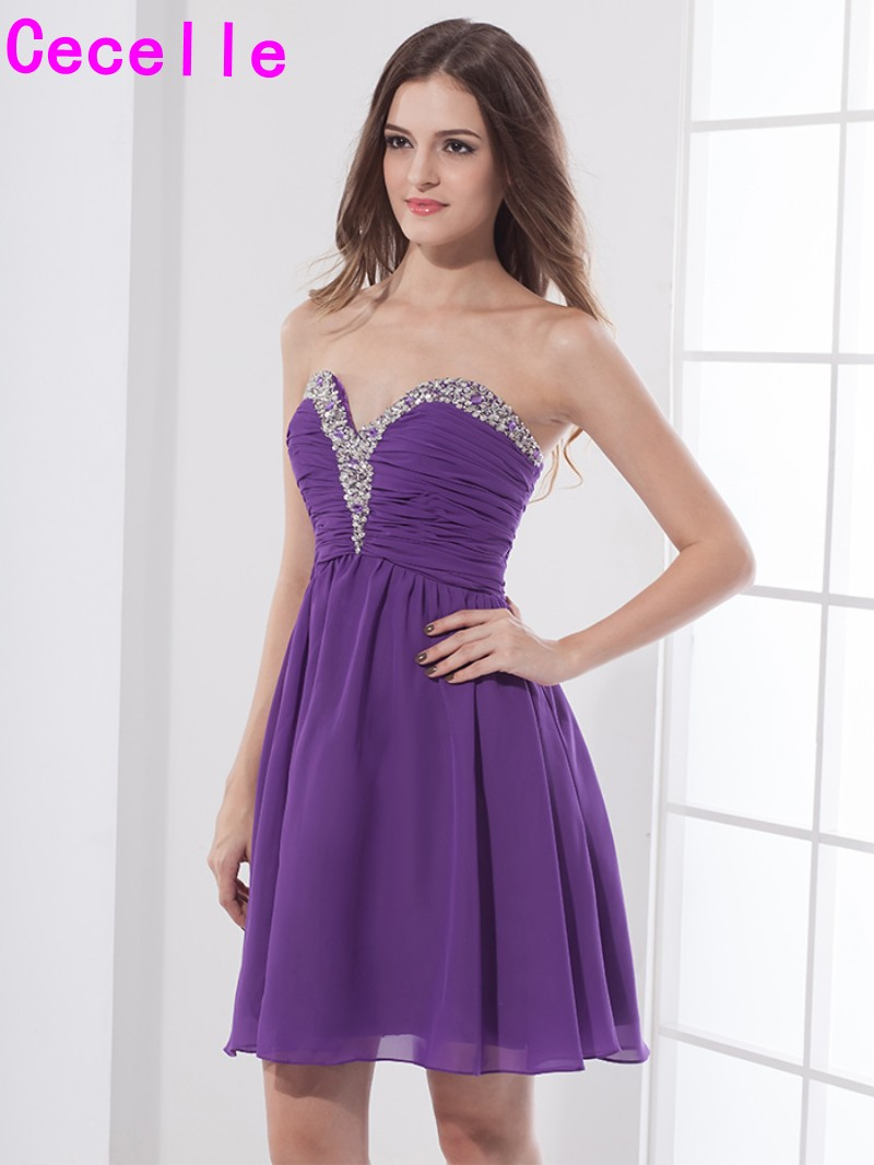 Cheap Purple Short A-line Chiffon Cute Prom   Cocktail     Dresses   Beaded Ruched Mini   Cocktail   party   Dresses   Real Images Juniors   Dress