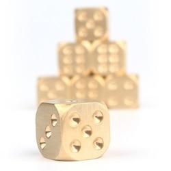 Dados de Color puro dorado, Metal poliédrico de cobre, herramienta de juego de dados pesados sólidos de 15X15X15mm