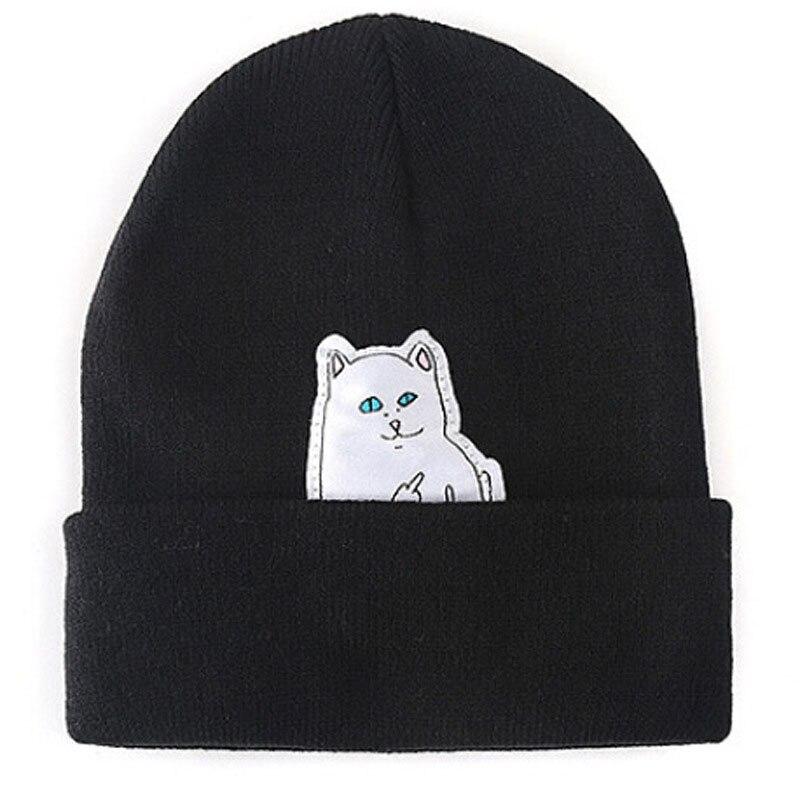 Hot! Cat Erect Middle Finger Hat Winter Couples Wool Hats Fashion Cotton Women Warm Head Hats Knitting Hats