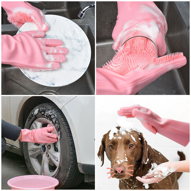 Kitchen Silicone Cleaning Gloves Magic Silicone Dish Washing Gloves Easy Household Silicone Scrubber Rubber Cleaning Gloves 1