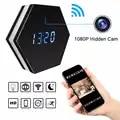 Мини часы для камеры HD 1080P WiFi умные зеркальные часы с ночным видением двухстороннее аудио Обнаружение движения Красочный Светодиодный свет ...
