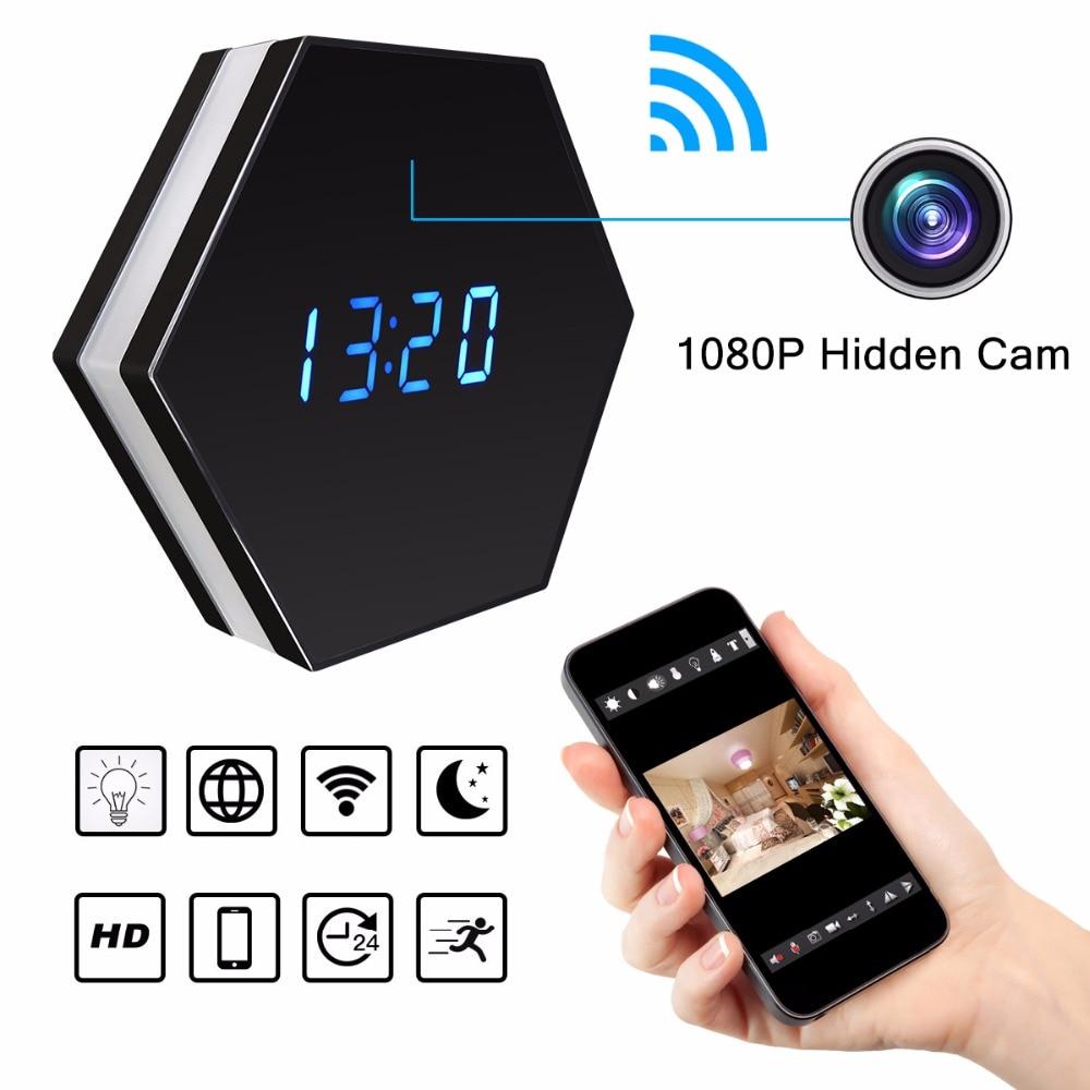 Мини часы для камеры HD 1080P WiFi умные зеркальные часы с ночным видением двухстороннее аудио Обнаружение движения Красочный Светодиодный свет kamera