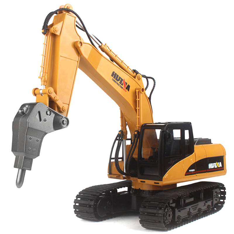 HuiNa 560 1:14 2.4G 16CH Metal RC Excavator Alloy Drilling Truck RTR With Broken Disassemble Charging RC Cars Model Toys For Kid
