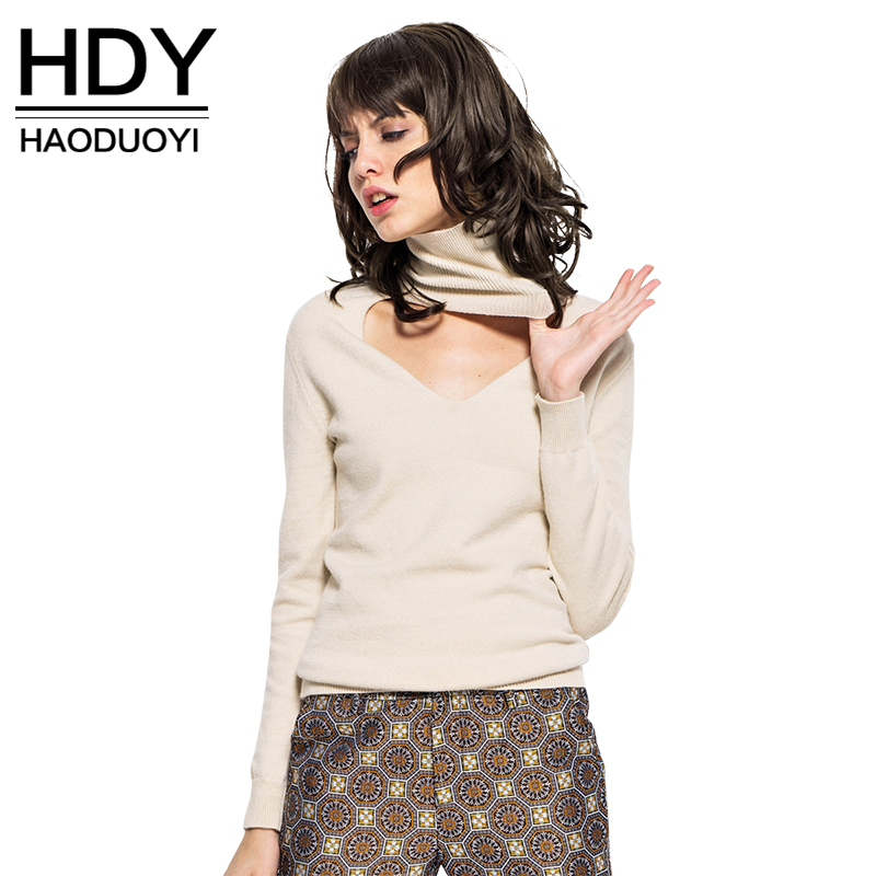 HDY Haoduoyi Fashion Women Sweatshirts Reversible Turtle Neck Pullover Autumn Winter Tops Jumper Knitted Pullovers Women Tops in Hoodies amp Sweatshirts from Women 39 s Clothing