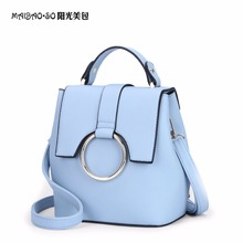 2017 New Spring Candy Color Backpack Bags shoulder bags Women Famous Brands Ladies Hand Bags Leather Ring Female Backpack