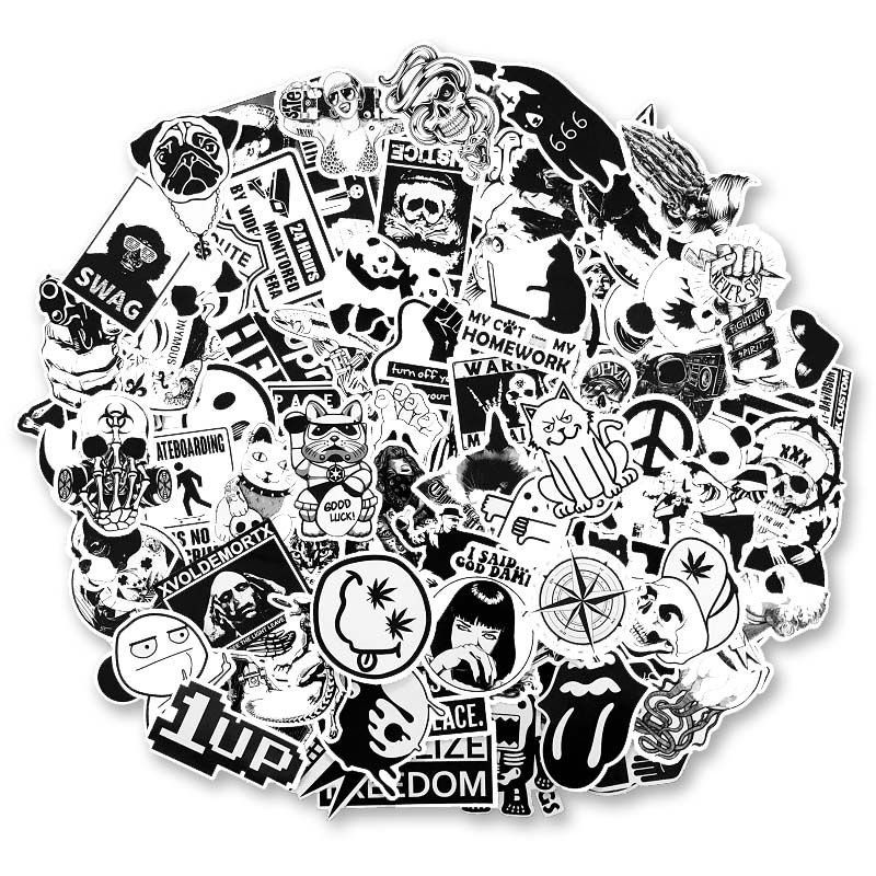 100pcs / set , Black and White Personalized Luggage Sticker Set , Waterproof DIY Stickers for Motorcycle Laptop Graffiti100pcs / set , Black and White Personalized Luggage Sticker Set , Waterproof DIY Stickers for Motorcycle Laptop Graffiti