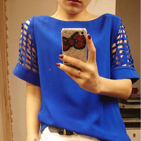 HTB1LInxGFXXXXXTXVXXq6xXFXXXf - New Summer shirt Short sleeve Chiffon Blouse Tops Clothing 5XL