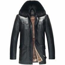 2016 Aviator flight jacket for males's real leather-based jacket  fur winter coats sheepskin fur collar brown black bike parka
