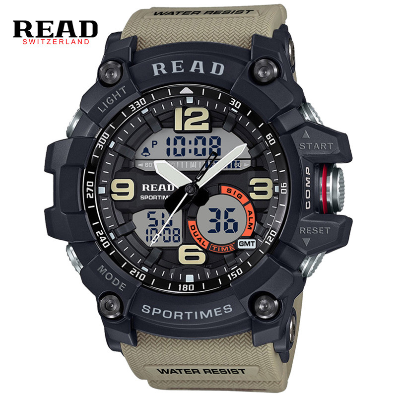 Luxury Brand READ Men's Sports Watches Analog Quartz Digital Watch For Men Waterproof Dual Time Zones Military Relogio Masculino weide new men quartz casual watch army military sports watch waterproof back light men watches alarm clock multiple time zone
