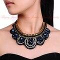 Medida hecha a mano 6 colores crystal choker collar babero collar de la cinta colgante jewerely
