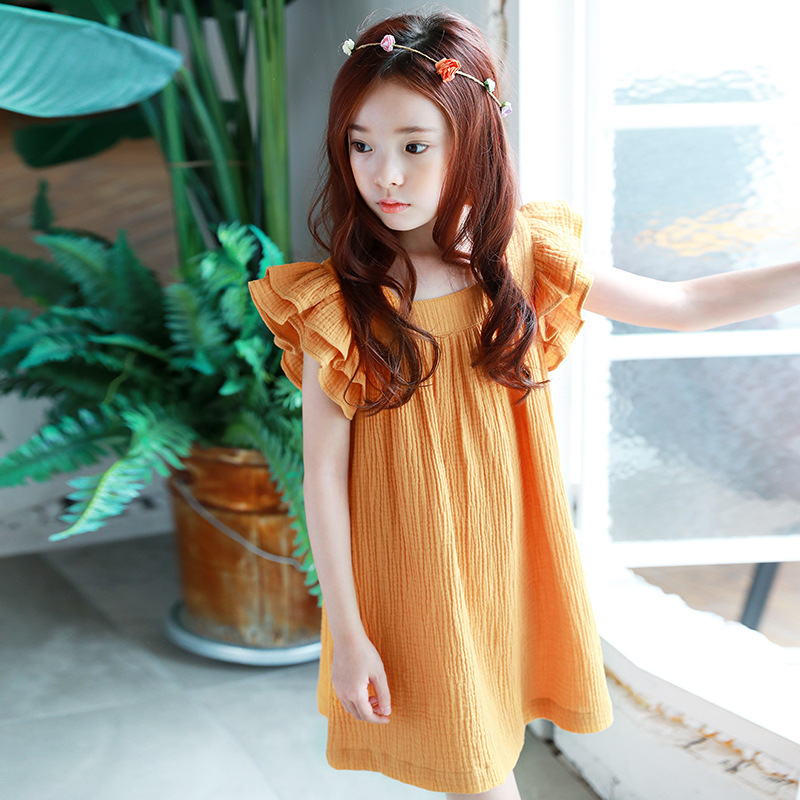 solid ruffles sleeveless fashion 2018 children girl kids party dresses for girls clothing little big girl princess dress clothes