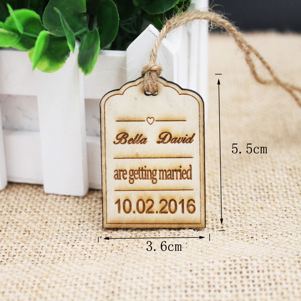 Save the date wood card 50pcs Rustic Wood Favor Tags Wedding Favors ...
