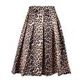 2017 nuevas mujeres faldas vintage estampado de leopardo mujeres longitud de la rodilla de talle alto evasé puff plisado midi falda vestido de fiesta