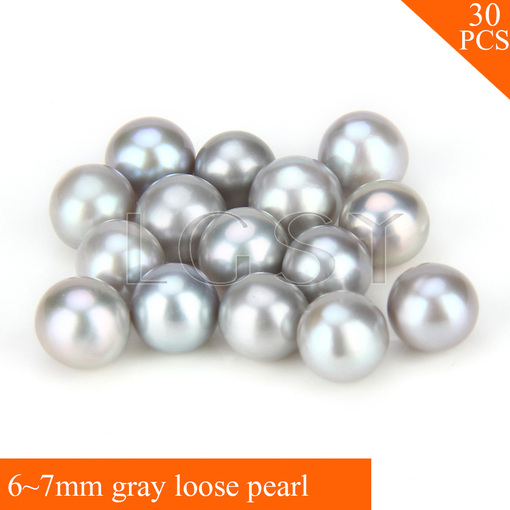 FREE SHIPPING, 6-7mm AAA Gray saltwater round akoya pearls 30pcs cluci free shipping get 40 pearls from 20pcs 6 7mm aaa blue round akoya oysters twins pearls in one oysters
