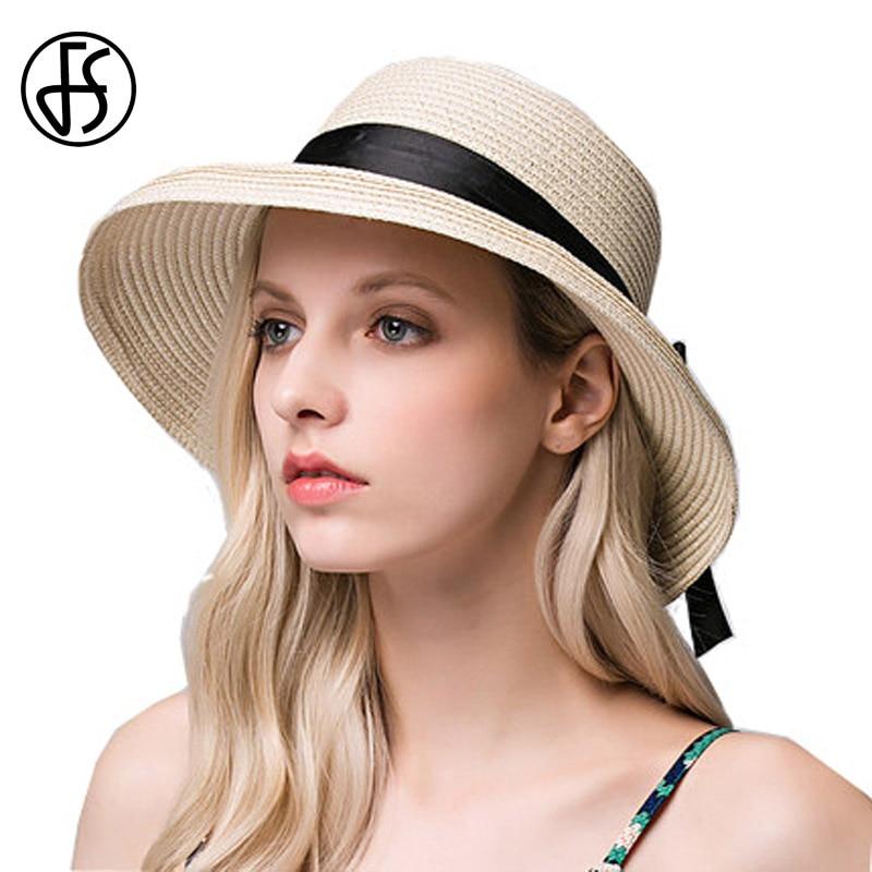 Beige Straw Hat For Women Summer Wide Brim Bow Decoration Floppy Beach Hats Fashion Lady Brown Sun visor Hats Uv Protect Cap