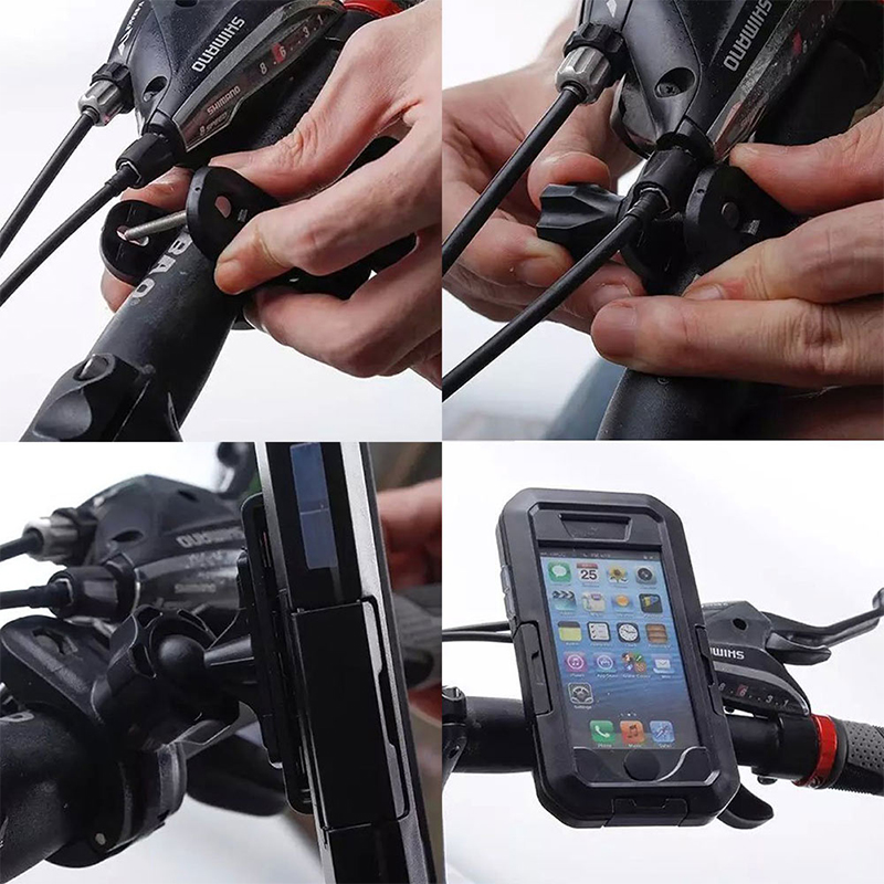 Image 5 - Bicycle Motorcycle Phone Holder For iPhone X 7 8 Plus Waterproof Telephone Support For Moto Stand Bag Bike Cover Mobile phonePhone Holders & Stands   -