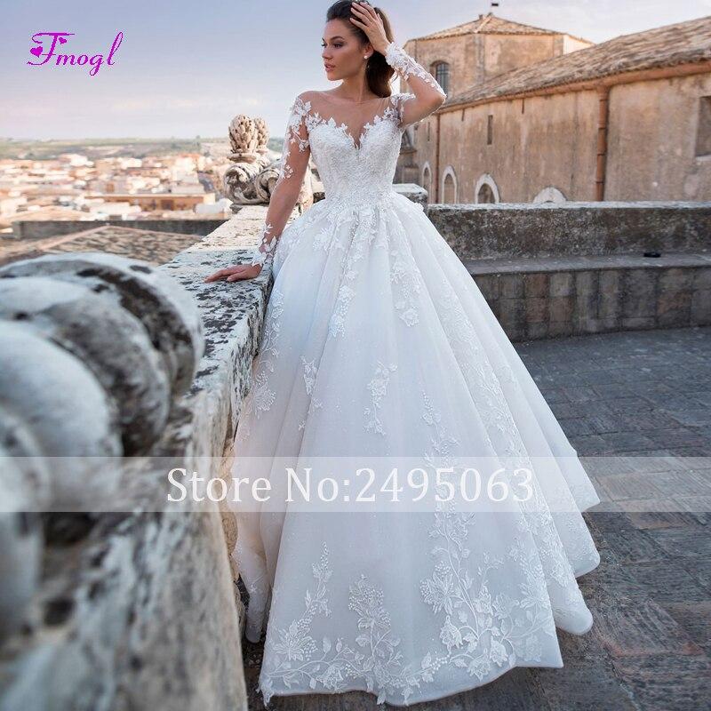 Fmogl Luxury Appliques Court Train A Line Wedding Dresses 2019 Fashion  Scoop Neck Lace Up Princess Bridal Gown Vestido de Noiva-in Wedding Dresses  from ... 01038f77f2e8