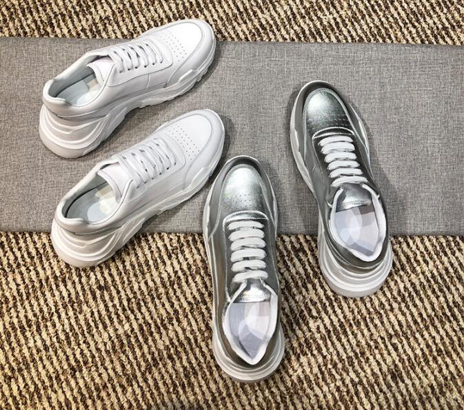 Nouveau Blanc argent Dentelle Plat Pic As À Femmes Pic Cuir Mode Sneakers as up Respirant Épais Casual En Chaussures Fond 5rERx5q