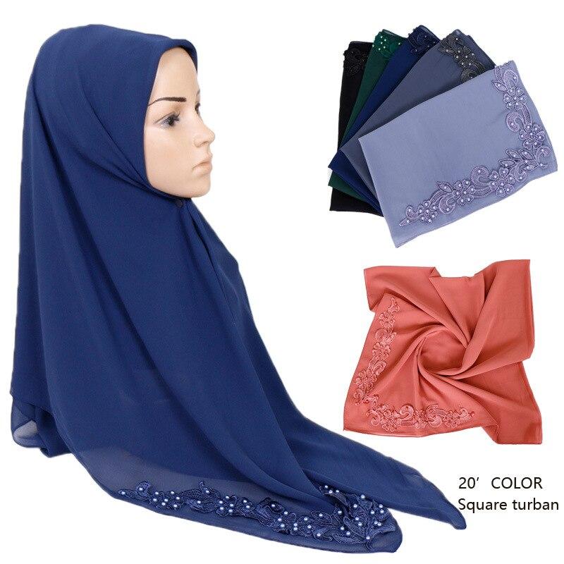 115*115Cm Plain Stitch Floral Beads Bubble Chiffon Instant Shawl Scarf Solid Lurex Hijabs Snood Wrap Headband Stole Muslim Sjaal