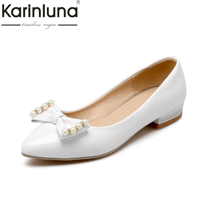 Karinluna 2018 Spring Autumn Sweet Shallow Women Ballet Flats Bow Beading slip-on Shoes Woman Big Size 33-43 Casual Footwear a 2017 autumn winter women ballet flats lovely bow warm fur comfort cotton shoes woman loafers slip on size 40 f270