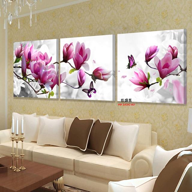 3 Stuck Leinwand Rosa Orchideen Dekoration Kunst Olgemalde Modulare