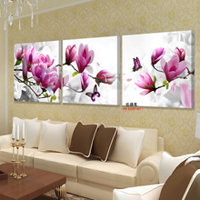 XIN SHENG MEI Canvas Wall Art Pink Orchids Decoration Oil Painting Modular Pictures On The Sitting Room Poster 3P041