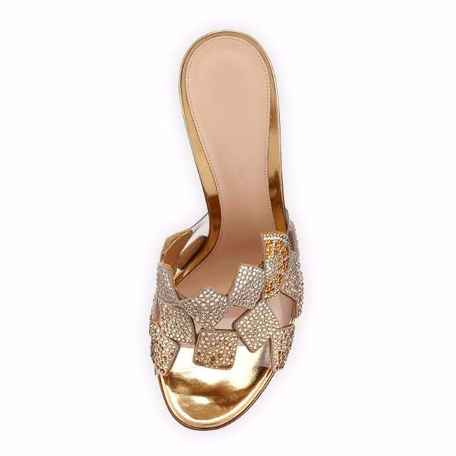 Eunice Choo Crystal Hot Fix Rhinestone Slip On Women Summer Mules Orange  Gold Luxury PVC Patchwork cb48d7641744