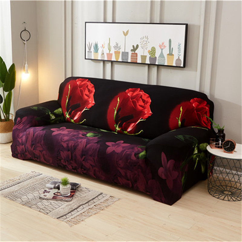 Stretchable Sofa Cover with Elastic for Sectional Couch Protects Sofa from Stains Damage and Dust