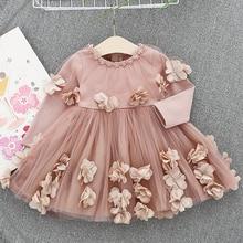 Toddler Girl Flower Princess Dresses Long Sleeve Cotton Party Dress Baby Girls Wedding Dress Children Costumes Kids Clothing 0-2