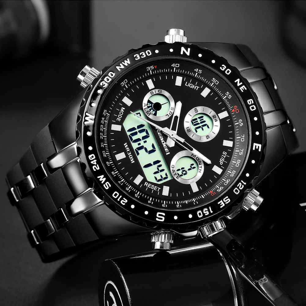 2018 למעלה מותג יוקרה אופנה הכרונוגרף ספורט Mens שעונים LED דיגיטלי קוורץ שעון Reloj Hombre זכר שעון relogio Masculino