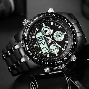 Image 2 - 2018 최고의 브랜드 럭셔리 패션 크로노 그래프 스포츠 남성 시계 led 디지털 쿼츠 시계 reloj hombre 남성 시계 relogio masculino