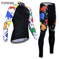 TOPBIKE Long Cycling wear set roupa ciclismo pro Bicycle clothing tenue cycliste homme long bike bib cycling clothes bisiklet