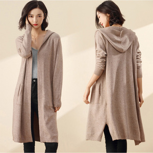 Image 1 - ארוך קרדיגן נשים סוודר חורף 2020 חדש מזדמן סתיו ארוך שרוול סרוג קימונו קרדיגן עם ברדס נשי גדול מעיל מעיל