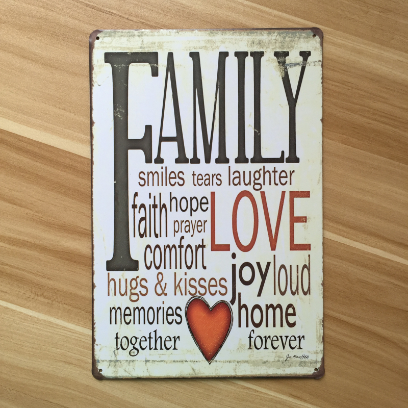 Letter Sign Family Love Metal Tin Signs Vintage Home Decor Decorative Plaques For Bar