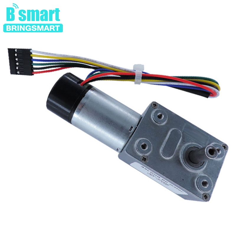 Bringsmart JGY-370B Worm DC Geared Motor 12V Hall Encoder Cover Dustproof Motor Encoder Self-lock Reversible Reducer Motor цены онлайн