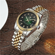 Luxury Rolexable Gold Watch Men Rotatable Bezel Sapphire Glass Stainless steel Band Women Quartz Wristwatches Can Swimming