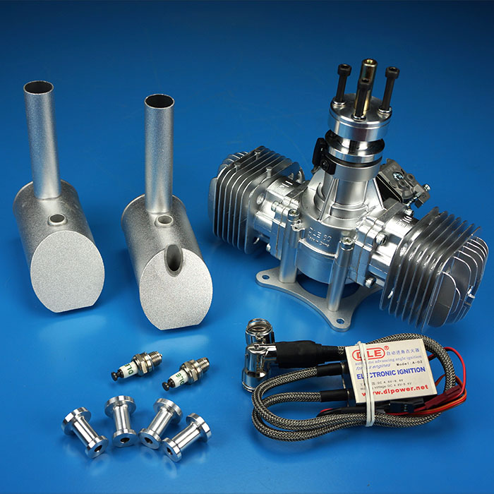 DLE60 60CC GAS Engine For RC Airplane Fixed Wing Model Double Stroke two exhaust wind cold hands start after Stroke aluminum water cool flange fits 26 29cc qj zenoah rcmk cy gas engine for rc boat