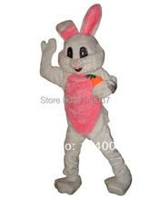 mascot Pink White Easter Bunny Rabbit Mascot Costume Adult Size Easter Holiday Carrot Bunny Mascotte Outfit Suit(China)