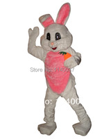 mascot Pink White Easter Bunny Rabbit Mascot Costume Adult Size Easter Holiday Carrot Bunny Mascotte Outfit Suit
