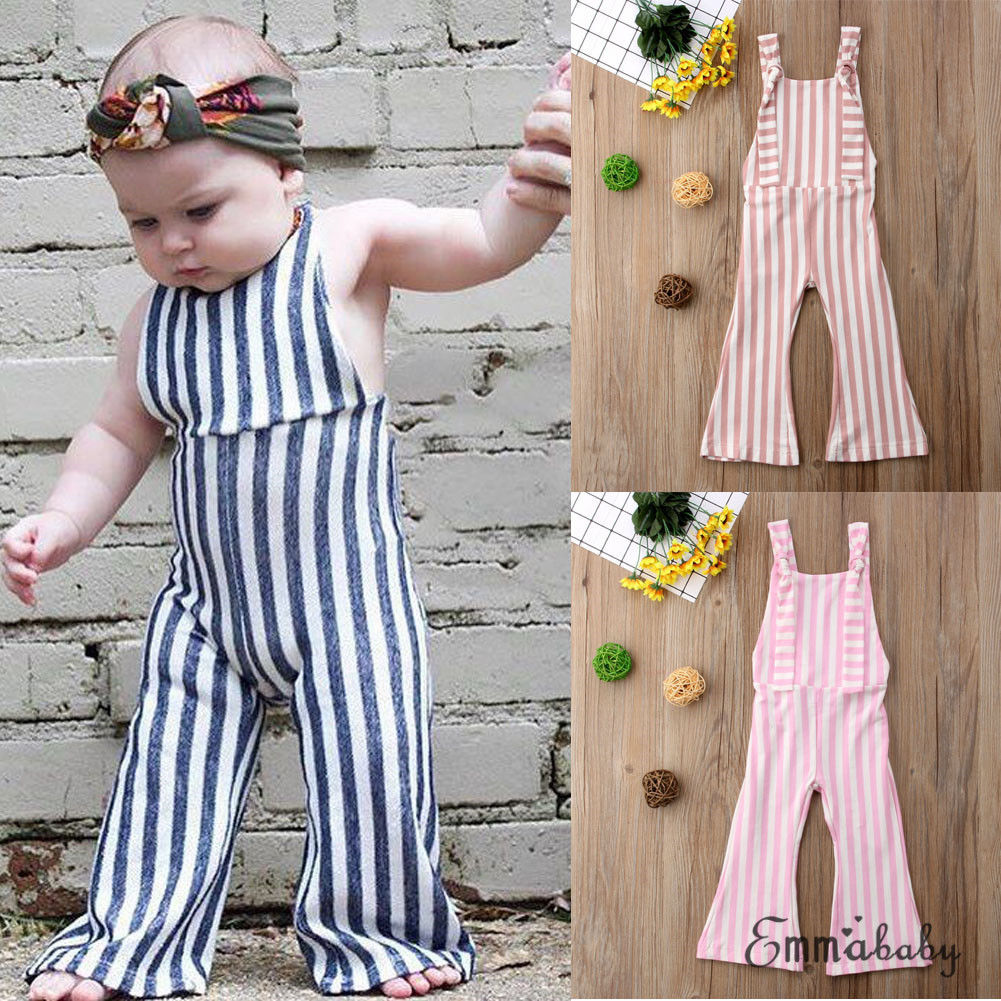 US Cute Kids Baby Girls Stripes Romper Bib Pants Overalls Jumper Outfits Clothes