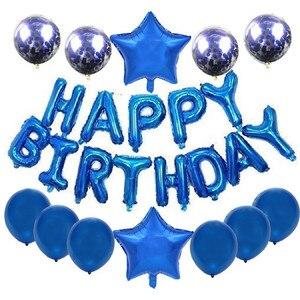 Image 3 - Conjunto de balões laminados de aniversário, kit de balões com letras de festa de aniversário infantil rosa de ouro feliz aniversário e crianças 16 Polegada