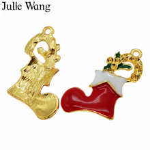 Julie Wang Enamel Red Christmas Socks Shoes Charms Gold Tone Pendant Xmas Handmade Bracelet Necklace Jewelry Making Accessory(China)