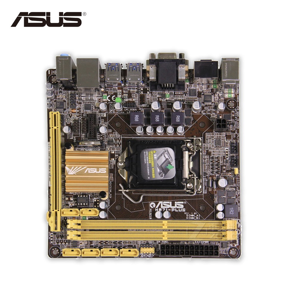 Original Used Asus H87I-PLUS Desktop Motherboard H87 Socket LGA 1150 i7 i5 i3 DDR3 16G SATA3 UBS3.0 Mini-ITX 100% Fully Test asus h87 plus deluxe board 1150 b85 motherboard